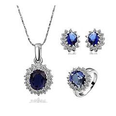tanie Zestawy biżuterii-Damskie Zestawy biżuterii Cyrkonia Cyrkon Miedź Pozłacane Kropla Wyrazista biżuteria Elegancki Ślub Impreza 1 Naszyjnik 1 Ring Náušnice