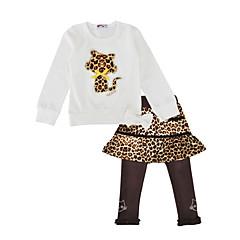 baratos Roupas de Meninas-Para Meninas Conjunto Diário Feriado Leopardo Primavera Outono Algodão Manga Longa Fofo Branco