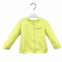 billige Babyoverdele-Baby Pige Afslappet Daglig Ensfarvet Langærmet Normal Bomuld Trøje og cardigan Grøn 90 / Sødt