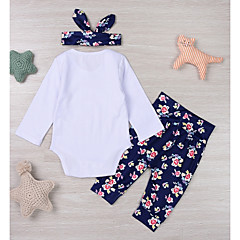 billige Sett med babyklær-Baby Pige Afslappet / Basale Sport Blomstret Bomuld Tøjsæt / Sødt