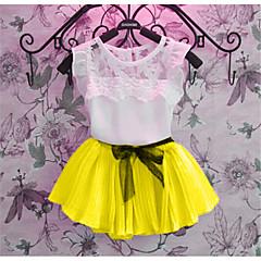 tanie Odzież dla dziewczynek-Dzieci Dla dziewczynek Na co dzień / Moda miejska Szkoła Żakard Krótkie rękawy Bawełna Komplet odzieży