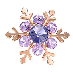 cheap Pins and Brooches-Women's Brooches AAA Cubic Zirconia Fashion Korean Gold Plated Snowflake Purple Jewelry For Gift Evening Party