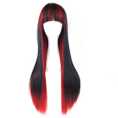 cheap Wigs & Hair Pieces-Synthetic Wig Straight Black With Bangs Synthetic Hair Black Wig 13cm(Approx5inch) Capless Black / Red