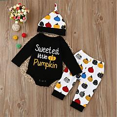 billige Sett med babyklær-Baby Pige Afslappet Daglig / Sport Trykt mønster Dyre Mønster / Printer Normal Normal Bomuld Tøjsæt Sort / Sødt