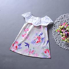 baratos Roupas de Meninas-Menina de Vestido Diário Para Noite Floral Estampa Animal Primavera Verão Raiom Sem Manga Casual Boho Arco-íris
