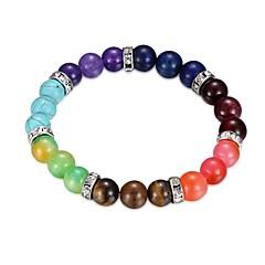 billige -Dame Turkis Sølvbelagt Farverig 1pc Kæde & Lænkearmbånd - Farverig Cirkelformet Regnbue Armbånd Til Gave Daglig