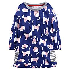 baratos Roupas de Meninas-Menina de Vestido Diário Feriado Estampado Algodão Fofo Casual Azul
