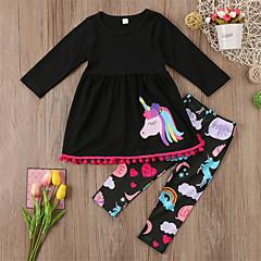 billige Tøjsæt til piger-Baby Pige Afslappet / Basale Sport / I-byen-tøj Dyr Dyre Mønster / Printer Langærmet Normal Normal Bomuld Tøjsæt Sort 100 / Sødt