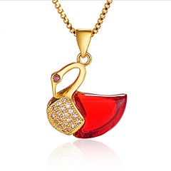 cheap Necklaces-Women's Shape Asian Elegant Pendant Necklace Onyx Crystal Cubic Zirconia Agate Zircon Gold Plated Pendant Necklace Wedding Daily