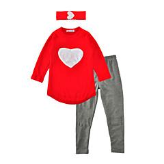 baratos Roupas de Meninas-Bébé Para Meninas Diário / Feriado Estampado Coração Manga Longa Padrão Padrão Algodão Conjunto Vermelho / Fofo
