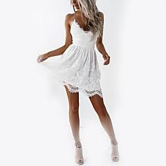 Damen Klub Festtage Grundlegend Schlank A-Linie Kleid - Spitze, Solide Mini V-Ausschnitt Gurt Hohe Taillenlinie Weiß