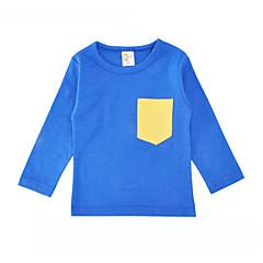 billige Pigetoppe-Unisex T-shirt Daglig Ferie Ensfarvet, Bomuld Forår Efterår Langærmet Simple Blå Rød Grå Gul