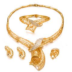 baratos Conjuntos de Bijuteria-Mulheres Conjunto de jóias - Chapeado Dourado Fashion, Importante Incluir Bracelete / Brincos Curtos / Gargantilhas Dourado Para Casamento / Festa / Anel