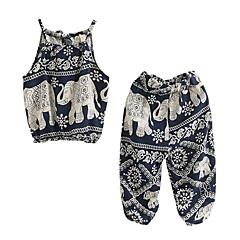 billige Tøjsæt til piger-Pige Tøjsæt Daglig Ferie Ensfarvet Trykt mønster, Polyester Sommer Uden ærmer Simple Navyblå