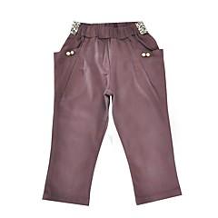 billige Bukser og leggings til piger-Pige Bukser Daglig Ferie Ensfarvet, Bomuld Polyester Forår Efterår Langærmet Aktiv Brun Beige