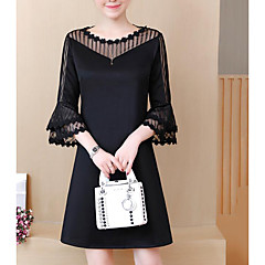 Damen Übergrössen Arbeit Etuikleid Kleid - Spitze, Einfarbig