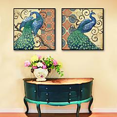 baratos Quadros com Moldura-Animais Floral/Botânico Ilustração Arte de Parede, Plástico Material com frame For Decoração para casa Arte Emoldurada Sala de Estar