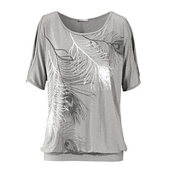 Damen Vintage Polyester T-Shirt - geometrischer Rundhalsausschnitt