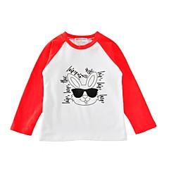baratos Roupas de Meninas-Unisexo Camiseta Diário Esportes Estampa Animal Primavera Outono Algodão Manga Longa Activo Azul Preto Vermelho Rosa