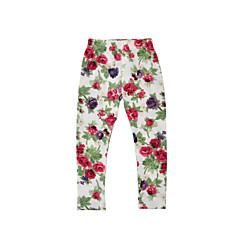 billige Bukser og leggings til piger-Baby Pige Afslappet Daglig / Ferie Blomstret Blomsterstil Langærmet Bomuld / Polyester Bukser Lyserød 100
