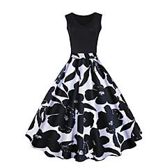 Damen Übergrössen Retro Anspruchsvoll A-Linie Kleid - Druck, Blumen Übers Knie
