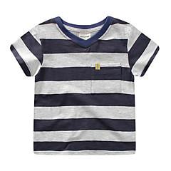 billige Gutteklær-Gutt Daglig Stripet T-skjorte, Polyester Vår Sommer Kortermet Gatemote Blå Rød Marineblå