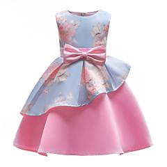 baratos Roupas de Meninas-Infantil Para Meninas Festa / Para Noite Floral Laço / Estampado Sem Manga Vestido / Algodão