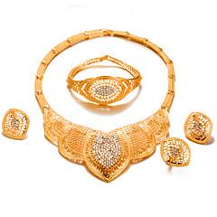 baratos Conjuntos de Bijuteria-Mulheres Conjunto de jóias - Chapeado Dourado Importante, Fashion Incluir Dourado Para Casamento Festa