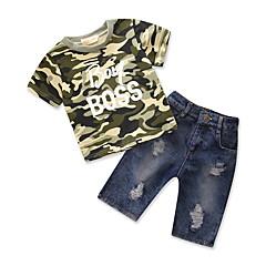 billige Tøjsæt til drenge-Drenge Tøjsæt Daglig I-byen-tøj Geometrisk Trykt mønster, Bomuld Polyester Sommer Kortærmet Simple Afslappet Army Grøn