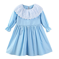 baratos Roupas de Meninas-Menina de Vestido Diário Para Noite Estampado Primavera Verão Algodão Poliéster Manga Longa Fofo Casual Azul