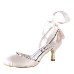 ieftine Pantofi de Mireasă-Pentru femei Pantofi Imitație de Piele Primăvară / Vară Balerini Basic pantofi de nunta Toc Stilat Vârf rotund / Vârf Închis Piatră Semiprețioasă / Legătură Panglică Maro deschis