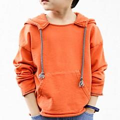 billige Hættetrøjer og sweatshirts til drenge-Børn Drenge Simple Ensfarvet / Galakse Normal Bomuld Hættetrøje og sweatshirt Orange 140