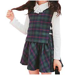 baratos Roupas de Meninas-Infantil Para Meninas Casual Diário Listrado / Estampado Manga Longa Algodão Conjunto Verde 140 / Fofo