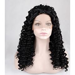 billiga Peruker och hårförlängning-Syntetiska snörning framifrån Jerry Lockigt Syntetiskt hår Afro-amerikansk peruk Peruk Dam Lång Naturlig peruk Spetsfront