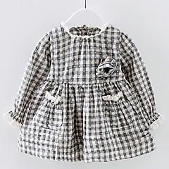 baratos Roupas de Meninas-Menina de Vestido Diário Quadriculada Verão Algodão Manga Longa Simples Preto