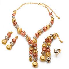 baratos Conjuntos de Bijuteria-Mulheres Conjunto de jóias - Pérola, Chapeado Dourado Fashion, Importante Incluir Dourado Para Casamento / Festa / Brincos