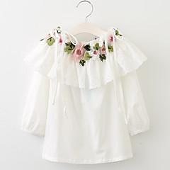 billige Pigekjoler-Pigens Kjole Daglig I-byen-tøj Ensfarvet Blomstret Jacquard Vævning, Bomuld Forår Sommer Langærmet Simple Vintage Hvid