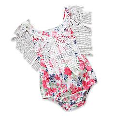 billige Babytøj-Baby Pige Simple / Afslappet Daglig / I-byen-tøj Trykt mønster Udskæring / Kvast / Originalt Uden ærmer Bomuld / Polyester Bodysuit Rød