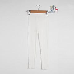 baratos Roupas de Meninas-Para Meninas Calças Diário Feriado Sólido Primavera Verão Algodão Simples Activo Branco Preto Rosa Cinzento