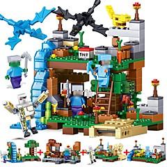 voordelige -LELE 4 in 1 MY WORLD Compatible Legoed Minecrafted figures city Bouwblokken 378pcs Architectuur Focus Toy Stadszicht Meisjes Geschenk