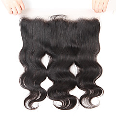 cheap Closure & Frontal-Guanyuwigs Brazilian Hair 4x13 Closure Wavy Free Part / Middle Part / 3 Part Swiss Lace Human Hair Women's With Baby Hair / Soft / Silky Party Evening / Dailywear / Daily Wear