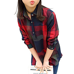 お買い得  ガールズウェア-子供 女の子 ストライプ 学校 / お出かけ チェック 長袖 コットン シャツ