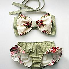 billige Badetøj til piger-Pige Vintage Sexet Blomstret Badetøj, Bomuld Akryl Uden ærmer Lysegrøn