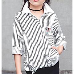 お買い得  ガールズウェア-子供 女の子 ストライプ 長袖 シャツ