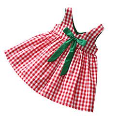 billige Pigekjoler-Pigens Kjole Daglig Ternet Patchwork, Polyester Sommer Uden ærmer Basale Rød