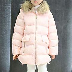 baratos Roupas de Meninas-Para Meninas Capa & Casaco Duvet Sólido Inverno Algodão Poliéster Manga Longa Vermelho Rosa Cinzento