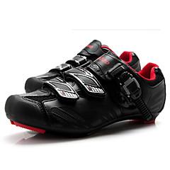 baratos Sapatos de Ciclismo-Tiebao® Homens Tênis para Ciclismo Nailom e Fibra de Carbono Ciclismo / Moto Anti-Escorregar, Vestível, Respirabilidade Pele PVC Preto /