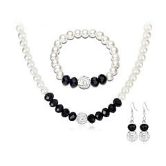 baratos Conjuntos de Bijuteria-Conjunto de jóias - Europeu, Fashion, Elegante Incluir Bracelete / Brincos Compridos / Gargantilhas Preto Para Casamento / Festa