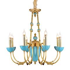 baratos Iluminação Decorativa-ZHISHU 8-luz Estilo de vela Lustres Luz Superior Latão Metal Cristal, Estilo Mini 110-120V / 220-240V Lâmpada Incluída