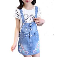 baratos Roupas de Meninas-Menina de Vestido Diário Feriado Estampado Primavera Verão Algodão Poliéster Sem Manga Fofo Activo Azul